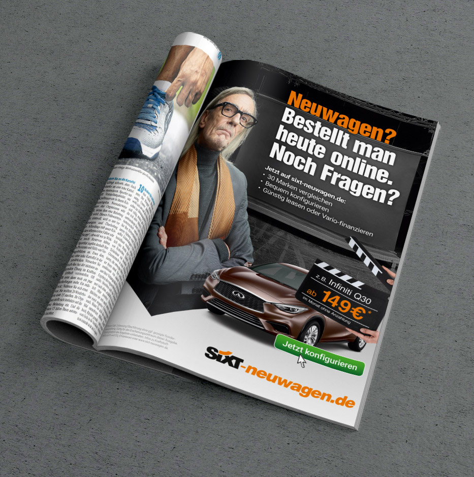 Sixt Neuwagen: Print-Adaption des TV-Spots